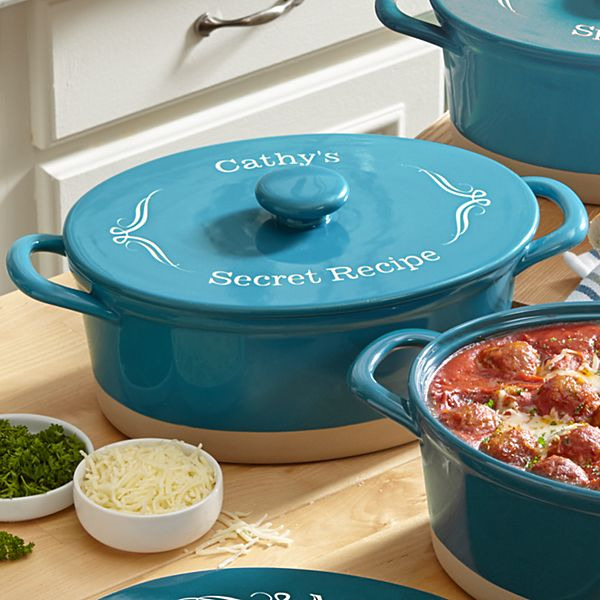 Teal Ceramic 4qt Oval Casserole Dish - Any Message