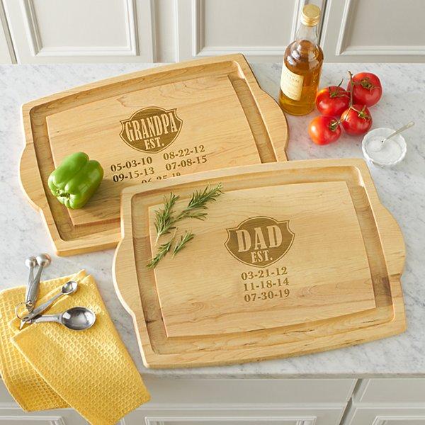 Dad Established Oversized Wood Cutting Board
