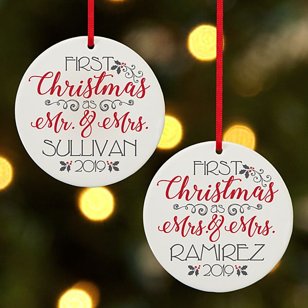 Christmas to Remember Wedding Round Ornament