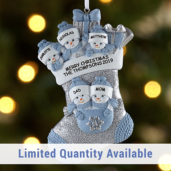 The Original Snow Buddies™ Family in Stocking Ornament