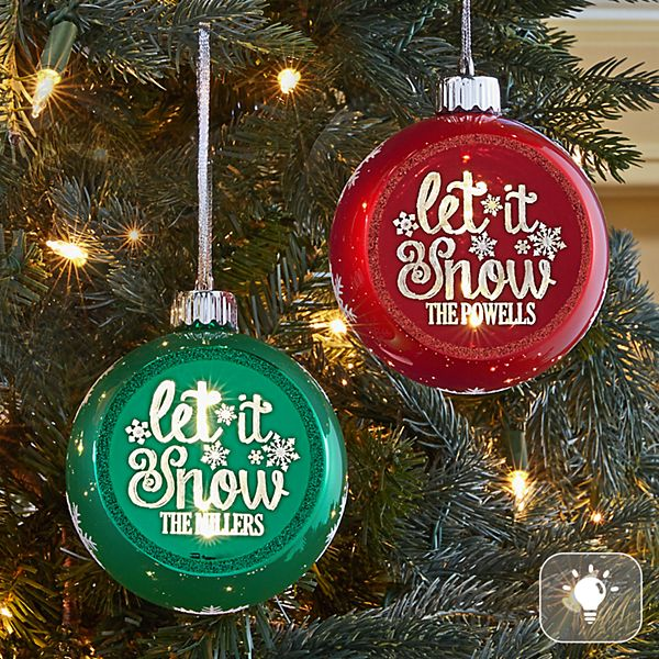 Let It Snow Glitter Globe Lighted Ornament