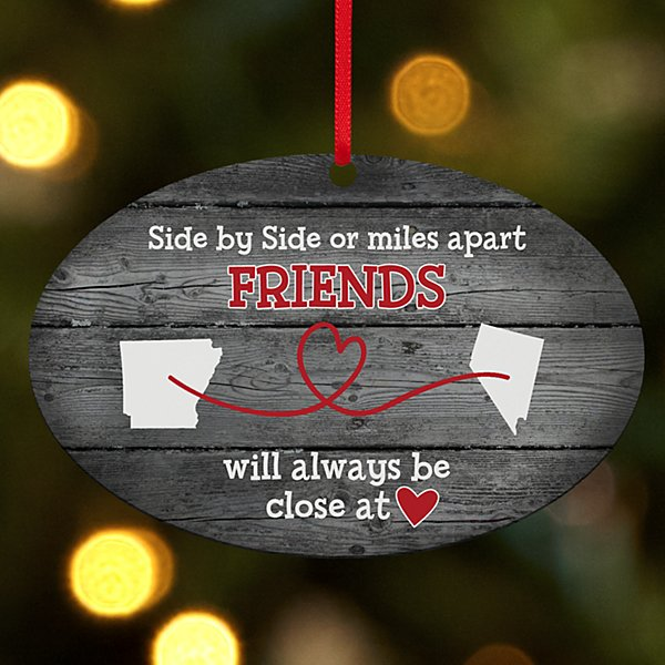 Miles Apart, Close at Heart Rustic Oval Ornament