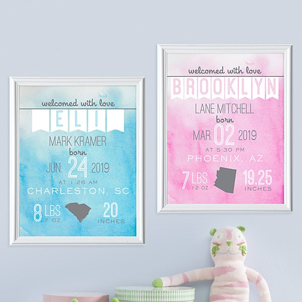 Water Color Baby Welcome Framed Print
