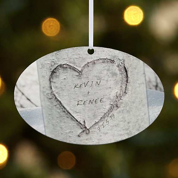 Carved Heart Oval Ornament
