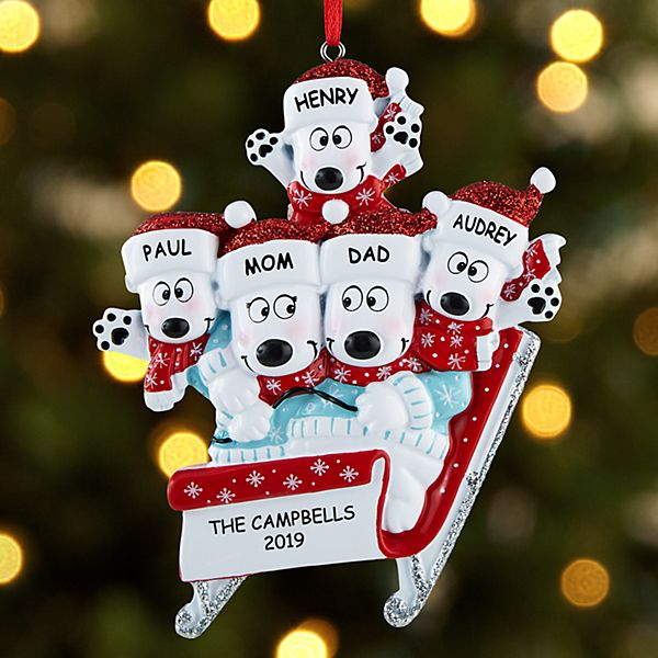 Sledding Polar Bear Family Ornament
