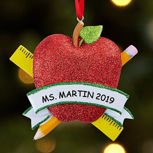 Glitter Apple Teacher Ornament