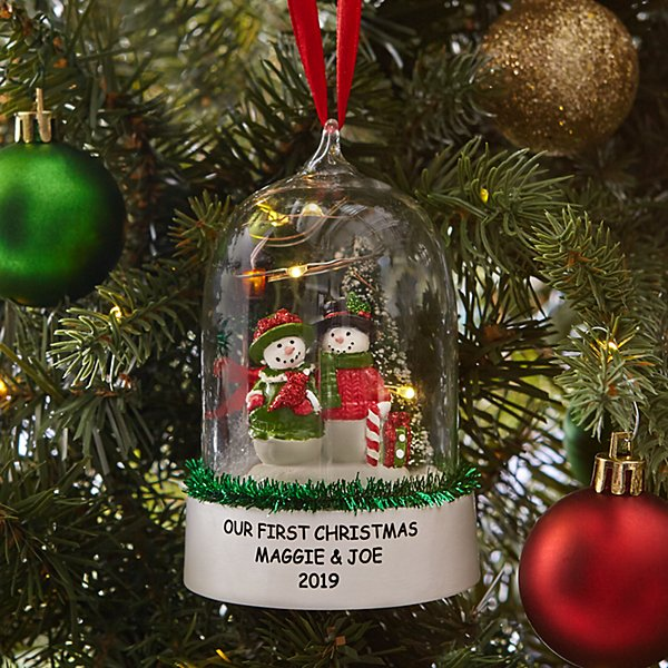Cozy Couple Lighted Dome Ornament