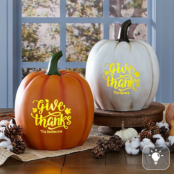 Light-Up Give Thanks XL Pumpkin