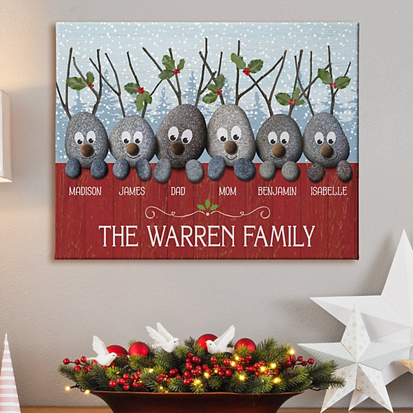 Reindeer Rocks Family Canvas