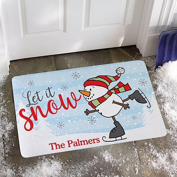 Skating Snowman Doormat