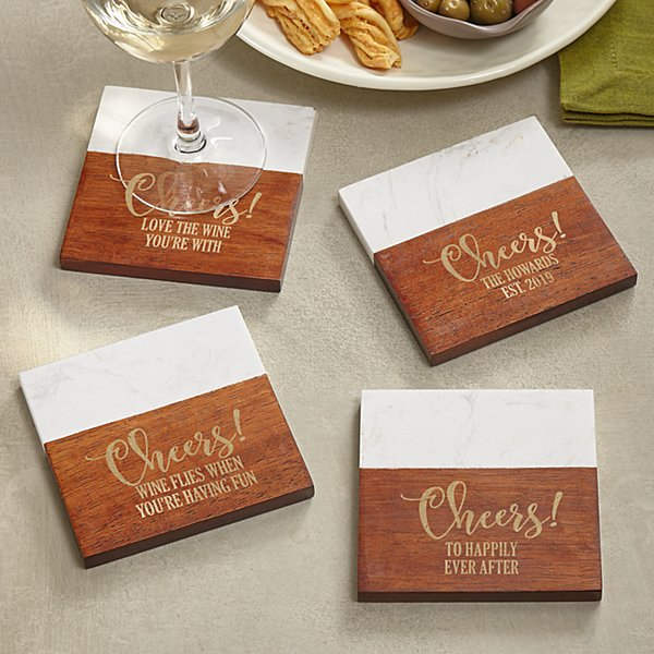 Cheers! Marble Wood Coasters
