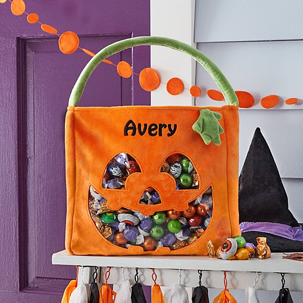 Pumpkin Patch See Thru Plush Treat Bag