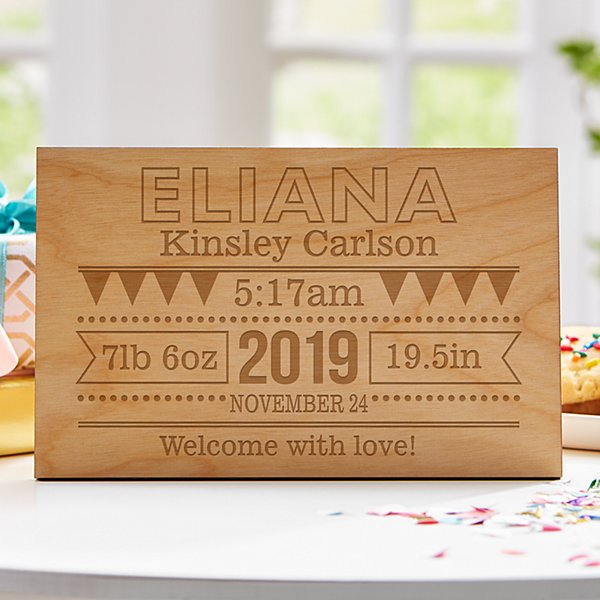 Baby Announcement Wooden Postcard