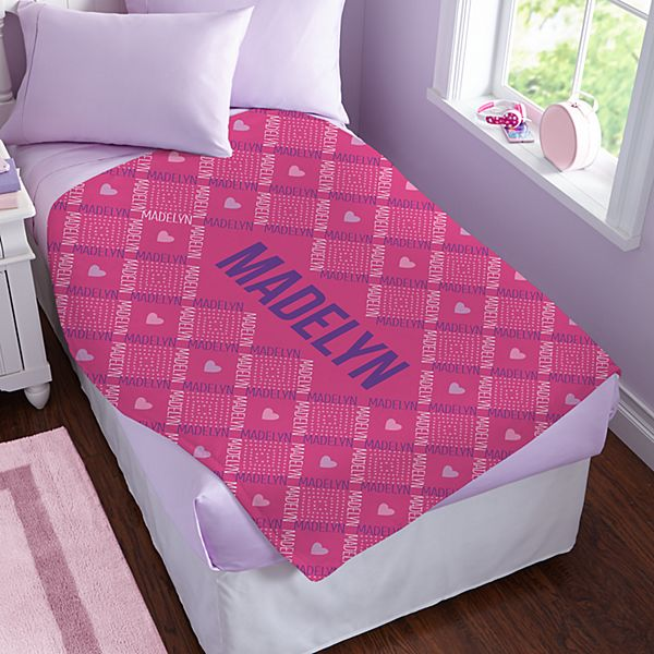 Crisscross Name Plush Blanket