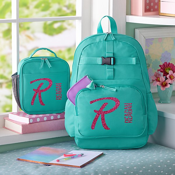 Glitter Name & Initial  Aqua Backpack Collection