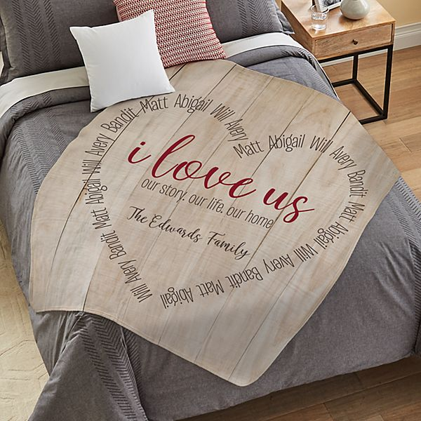 I Love Us Heart Plush Blanket
