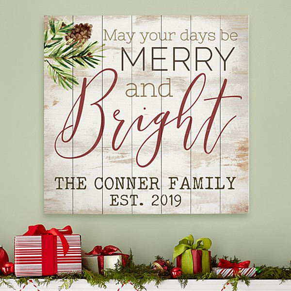 Merry and Bright Oversized Wood Pallet Wall Art
