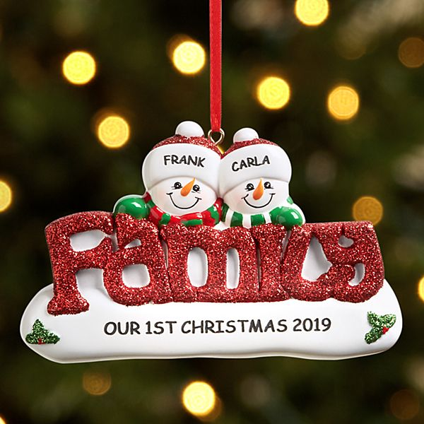 Sparkling Snowman Family Couple Ornament