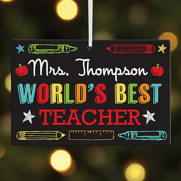 World's Best Teacher Rectangle Ornament