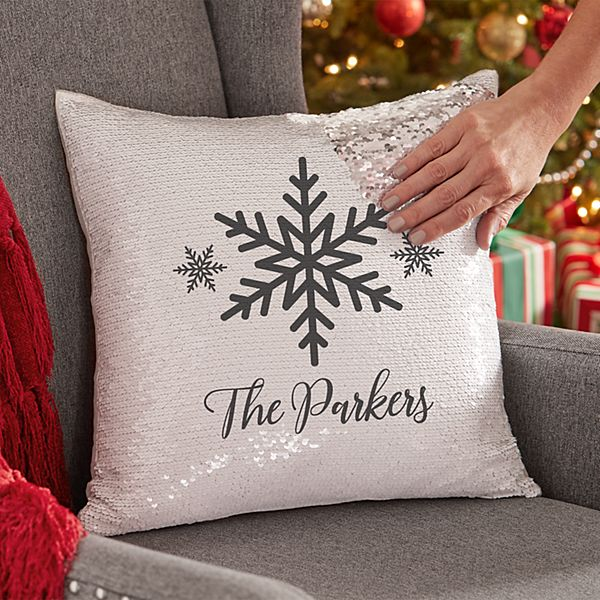 Holiday Snowflake Sequin Throw Pillow