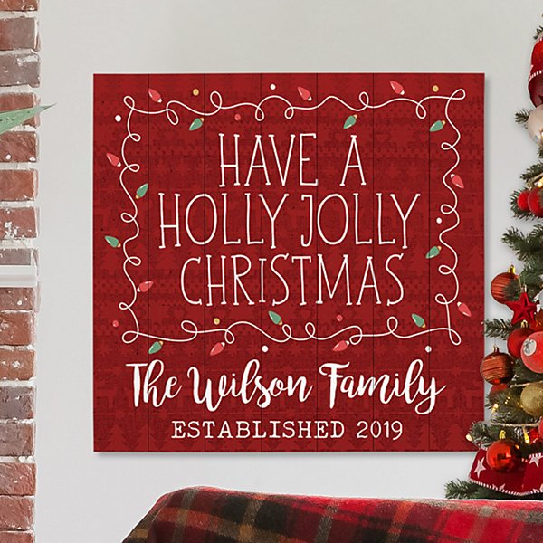Holly Jolly Christmas Oversized Wood Pallet Wall Art