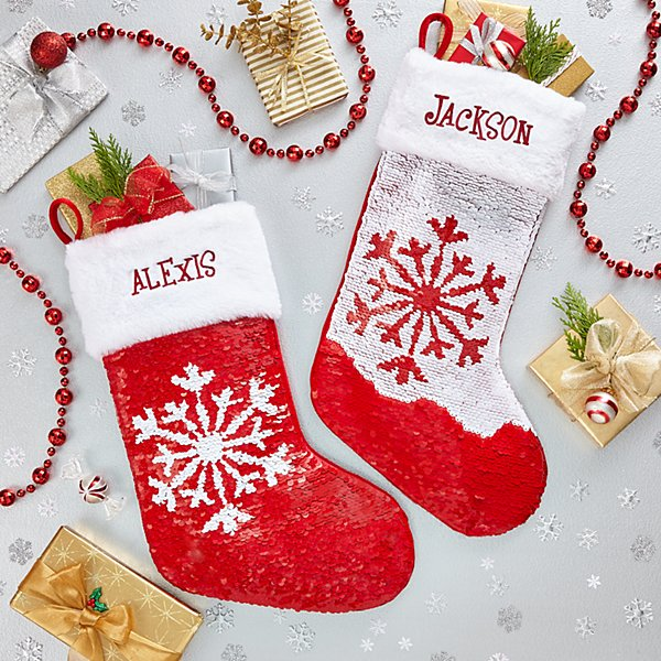 Sequin Flip Snowflake Stocking