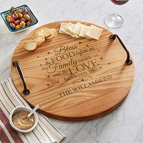 Bless This Food Wine Barrel Tray