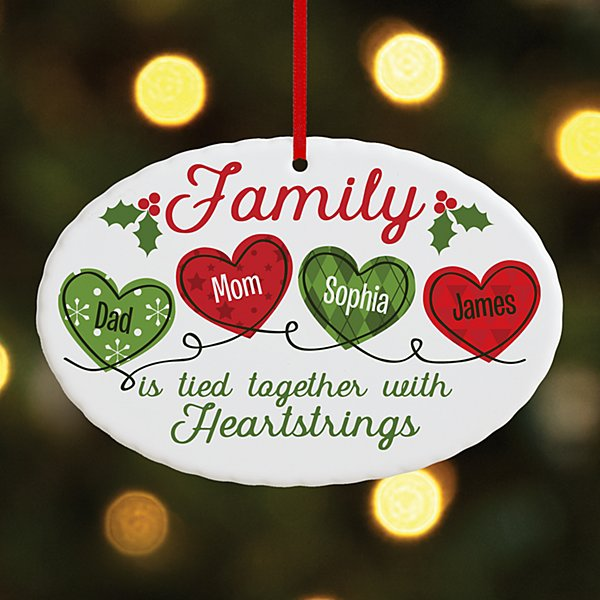 Christmas Family Heartstrings Oval Ornament