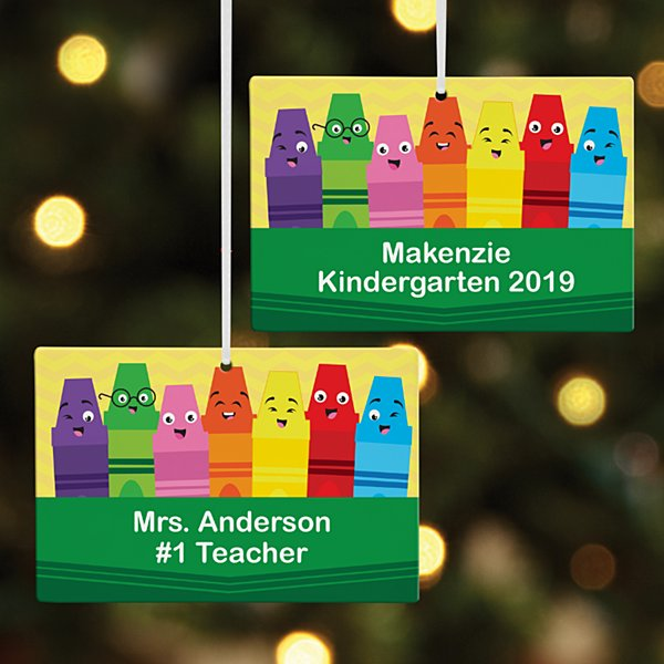 Colorful Crayons Rectangle Ornament