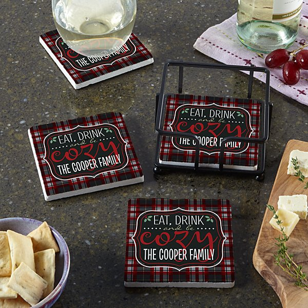 Eat, Drink and Be Cozy Coasters