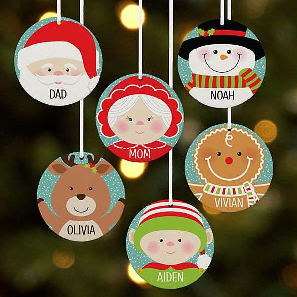 Festive Faces Round Ornament