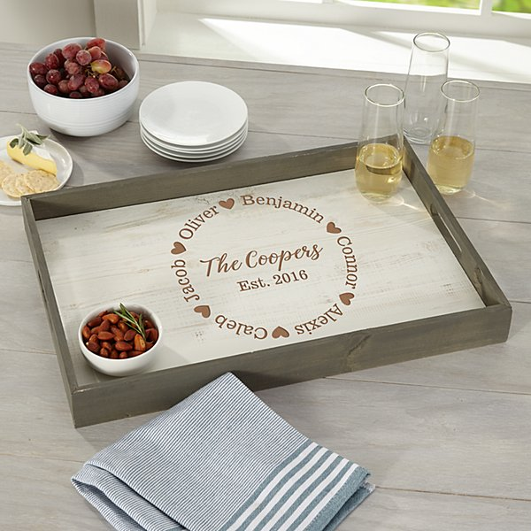 Love All Around Rustic Wood Tray