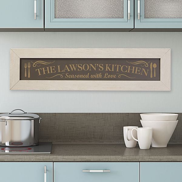 Seasoned with Love Framed Wood Sign