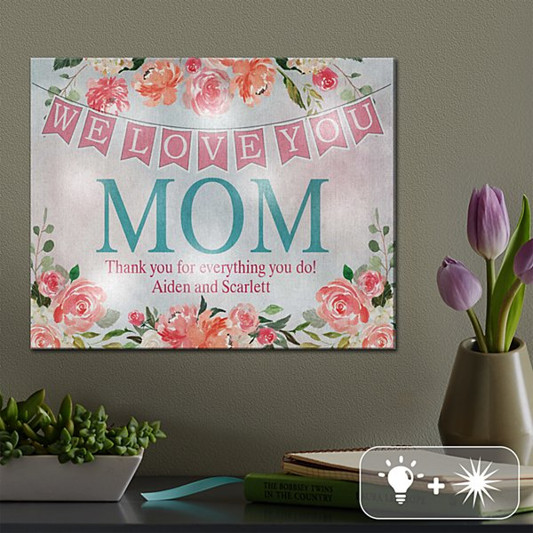 TwinkleBright® LED Blooms with Love Canvas
