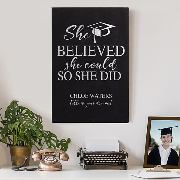 Believe & Achieve Graduation Leather Wall Art
