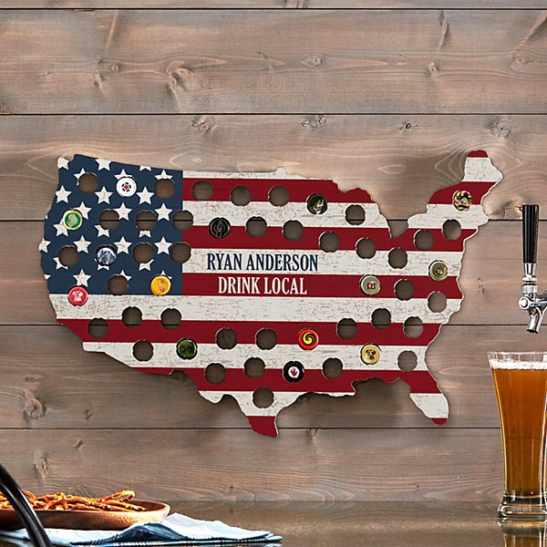 All American Bottle Cap Wall Display