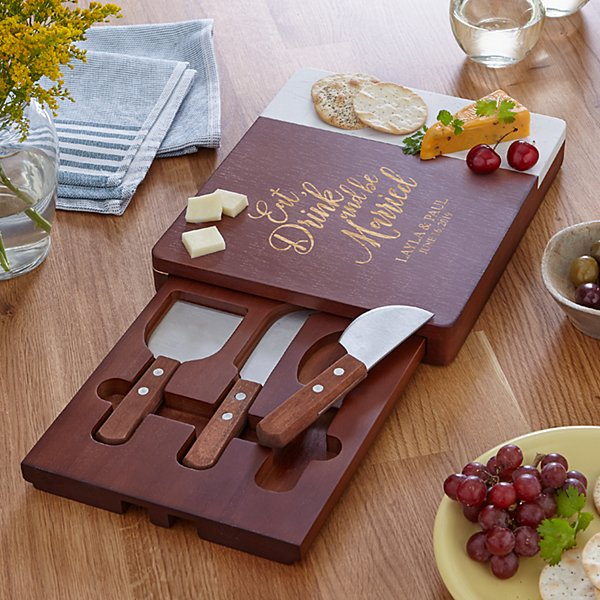 Eat, Drink & Be Married Marble Wood Cheese Board
