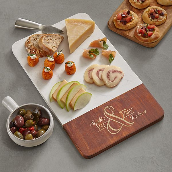 Simple Elegance Marble & Wood Cutting Board