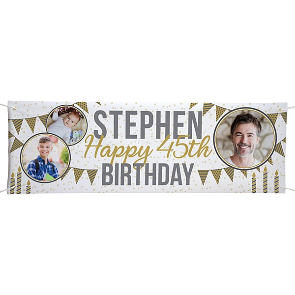 Through the Years Photo Birthday Banner - 6 ft