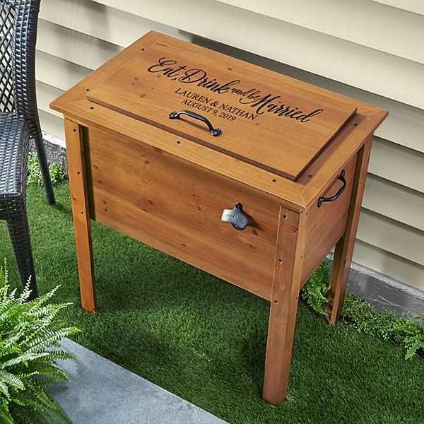 Eat, Drink & Be Married Outdoor Wooden Cooler