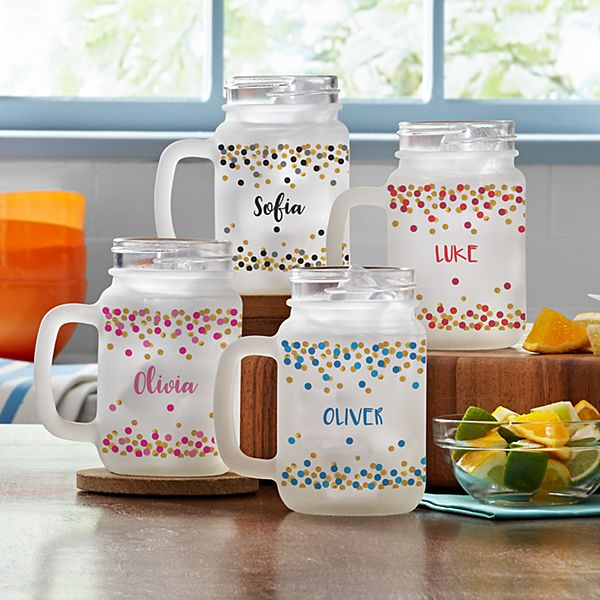 Confetti Name Frosted Mason Jar