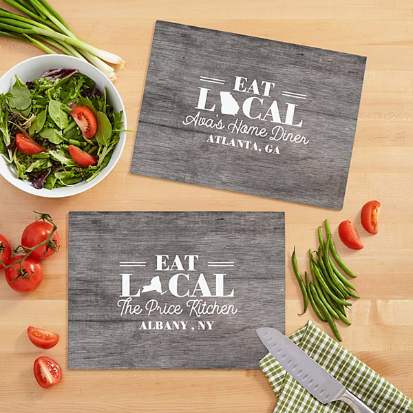 Eat Local Glass Cutting Board