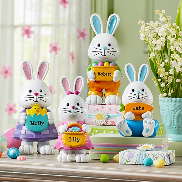 Hoppy Bunny Family Resin Figurines