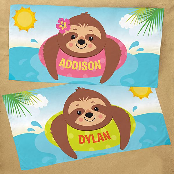Sunning Sloths Beach Towel