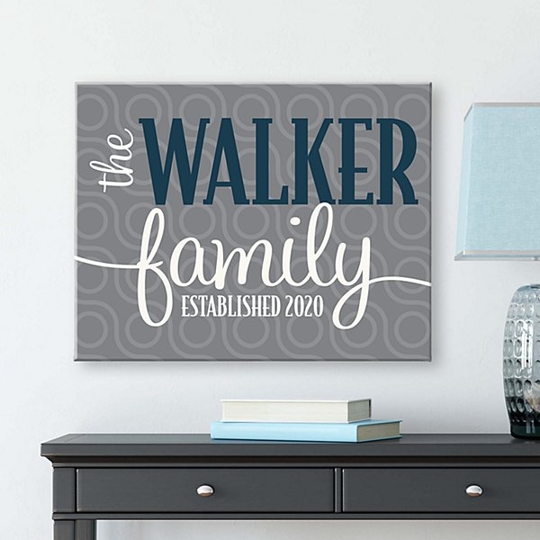 Modern Family Name Canvas