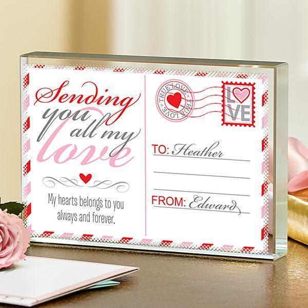 Sending All My Love Glass Block