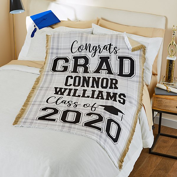 Plaid Grad Throw Blanket