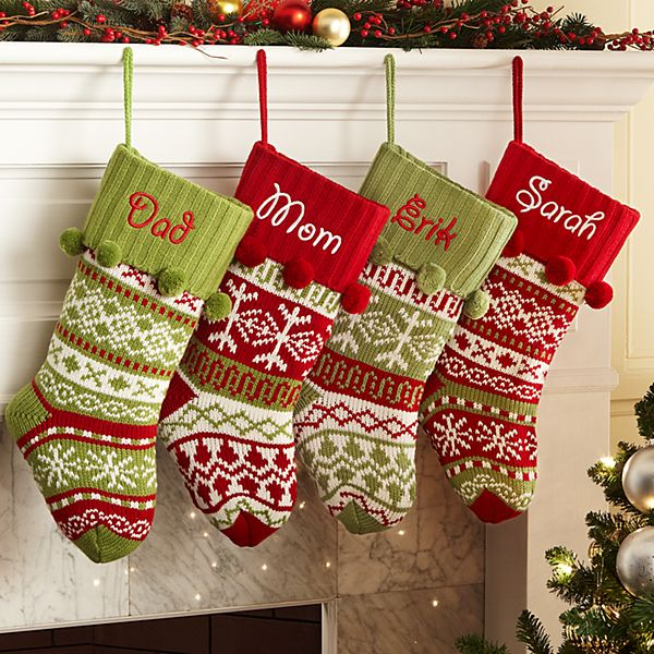 Knit Argyle/Snowflake Personalized Stockings