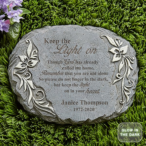 Keep The Light On Glow Garden Stone