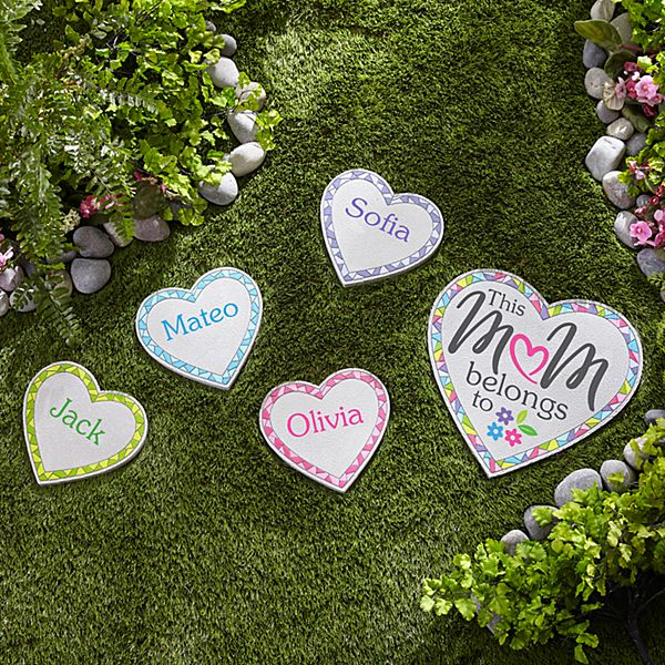 Colorful Mosaic Heart Garden Stepping Stone